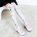 Ponožky a punčochy Gothic Lolita Lolita Lolita Bílá / Černá Lolita Příslušenství Punčocháče Květinový Pro Dámské Bavlna