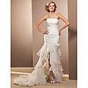 Lanting Bride® Mořská panna Drobná / Nadměrné velikosti Svatební šaty - Klasické & nadčasové Průsvitné Asymetrické Bez ramínek Organza s