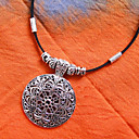 kožna Tibetanski srebrna ogrlica (duljina: 40cm)