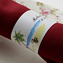 Personalized Paper Napkin Ring - Beach Wedding (Set of 50)