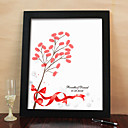 Personalized Fingerprint Painting Canvas Prints - Red Bow (Includes 6 Ink Colors And Frame)