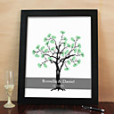 Personalized Fingerprint Painting Canvas Prints - Black Tree (Includes 6 Ink Colors And Frame)