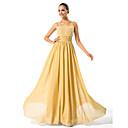 Lanting Bride® A-Linie Větší velikosti / Malé Šaty pro matku nevěsty Na zem Bez rukávů Šifón - Korálky / Nabírání / Sklady