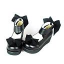 Crna kožna PU 4,5 cm klin velvet bow klasičnih lolita cipele