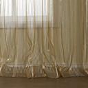 二つのパネル国リネン刺繍ストライプ薄手のカーテン