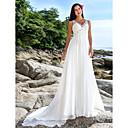Lanting Bride® Aライン 小柄 / 大きいサイズ ウェディングドレス - シック&モダン チャペルトレーン Vネック シフォン とともに スパンコール / ビーズ