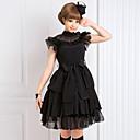 Jednodijelni/Haljine Gothic Lolita Lolita Cosplay Lolita Haljine Crn Jednobojni Bez rukava Srednja dužina Haljina Za Žene Šifon