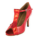 Customizable Women's Dance Shoes Latin/Salsa Leatherette Customized Heel Red