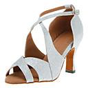 Može se prilagoditi - Ženske - Plesne cipele - Latin / Salsa - Šljokice - Prilagođeno Heel - Crn / crven / srebro / Zlato