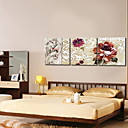 Beige Floral Modern Style Wall Clock in Canvas 3pcs