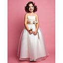 Lanting nevěsta ® A-line / princezna podlahy délka květin šaty - organza / satén bez rukávů špagetová ramínka
