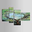 伸張フレーム付き手描き抽象油絵 - 4のセット
