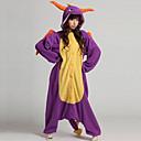 Kigurumi Pyžama Dinosaurus Leotard/Kostýmový overal Festival/Svátek Animal Sleepwear Halloween Fialová Patchwork Coral Fleece Kigurumi Pro