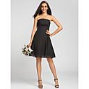 Lanting Bride® Ke kolenům Šifón Šaty pro družičky - A-Linie Bez ramínek Větší velikosti / Malé s Aplikace / Nabírání