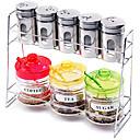 Kuhinja Staklo bočica Set (Set od 9: 1pc stalak, 5pcs Shaker, 1pc Pot šećer, kavu 1pc Pot & 1pc Tea Pot žlicom i poklopac)
