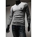 男性用 プレイン カジュアル Tシャツ,長袖 コットン混,ブラック / ブルー / レッド / ホワイト / グレー