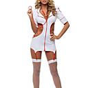 Hot Girl Bílá elastická Lycra Nurse Uniform