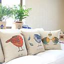 コットン/リネン装飾枕カバー3カントリー可愛い鳥のセット