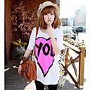 Fashiongirl Ženska Long Heart Shape Ispis Loose bijela košulja