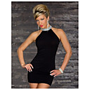 Shixianli Dámská Solid Color Noční klub Dress (Black)