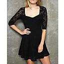 LingerieOcean V-izrez crne čipke haljina