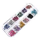 3000ks 12-barevné nehty 2mm kotouč umění tipy třpytky drahokamu dekorace