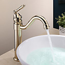 Country Brass Single Handle Bathroom Sink Faucet Ti-PVD Finish
