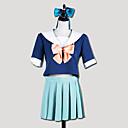 Inspirirana Kantai Collection Yūbari Video igra Cosplay Kostimi Cosplay Suits / School Uniforms Kolaž Bijela / Plava Kratki rukavTop /