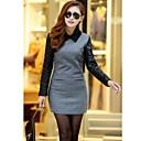 Ženska Turn-dolje Collar Tweed šivanje Long Sleeve Iznad koljena haljina