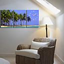 キャンバス3PCSカントリースタイルココナッツの木時計