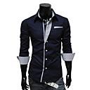 LiLuoKe Modni kontrast boja Slimming Long Sleeve Shirt (Dark Blue)