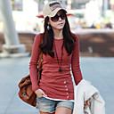 Majica s rukavima Ženski,Jednostavno / Ulični šik Ležerno/za svaki dan Jednobojni-Dugih rukava Okrugli izrez-ProljećeCrvena / Bijela /