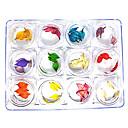 60個入、12色のドライフラワーネイルアートの装飾