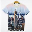 男性用 プリント カジュアル Tシャツ,半袖 コットン混,マルチカラー