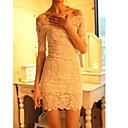 Vina Ženska New Style Elegant Bateau Čipka Solid Color Bodycon Dress