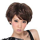 Capless Short Light Brown Curly Synthetic Fiber Wigs Side Bang