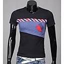 Color block Muška Majica s rukavima Ležerne prilike,Pamuk Kratkih rukava-Crna / Bijela / Siva