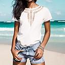 婦人向け オールシーズン Tシャツ ラウンドネック ソリッド ピンク / レッド / ホワイト / グリーン / イエロー 半袖 薄手
