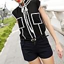 Ženska bijela crna Spajanje Pocket šifon T-Shirt
