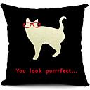 太った猫コットン/リネン装飾枕カバー