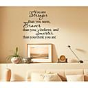 jiubai ™ ste jači inspiracija riječ art dom ukras na zid naljepnica zid decal