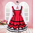 Lovely Girl Long Sleeve do koljena crveni i bijeli pamuk Škola Lolita prerušiti