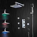 Suvremeni Sustav za tuširanje LED / Tuš s kišnim mlazom with  Keramičke ventila Tri Ručke pet rupa for  Chrome , Slavina za tuš