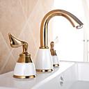 滝状吐水タイプ バスルームのシンクの蛇口 現代風 TI-PVD 真鍮 センターセット