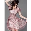 kyy ženske modne kratki rukava oko vrata haljina