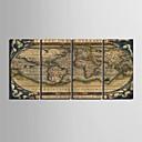 4の装飾画セットのキャンバスの芸術世界地図