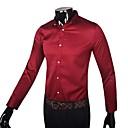 Obično Muška Majica Posao,Pamuk Dugih rukava Crna / Crvena / Bijela
