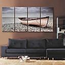e-HOME® plátně umění zastavit loď pobřežní dekorativní malby sadu 4