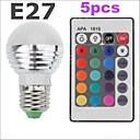 3W E26/E27 LED okrugle žarulje G45 1 SMD 2835 300-500 lm RGB Na daljinsko upravljanje / Ukrasno AC 85-265 V 5 kom.