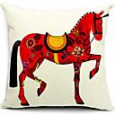 živa crvena konj pamuka / lana dekorativne jastučnicu